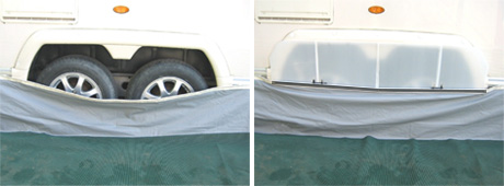 The Draught Stoppa Shown To Right Will Fit Any Caravan With Spoke Wheels Without Need For Auxiliary Fixings Or Suckers